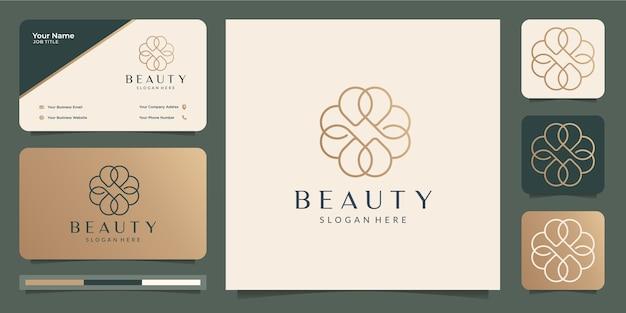 Logotipo da flor minimalista da beleza e cartão de visita