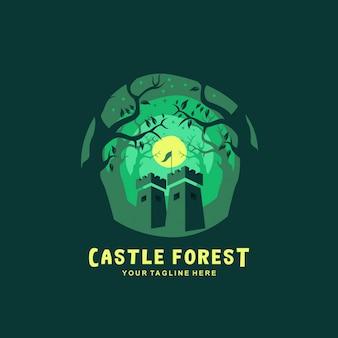 Logotipo da floresta castelo com design plano