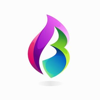 Logotipo da folha com conceito da letra b