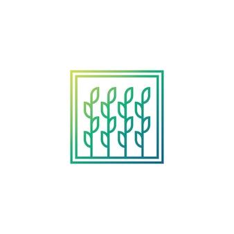 Logotipo da folha. conceito de conceito crescente de árvore. cor verde e ensolarada. modelo de ícone de linha de logotipo