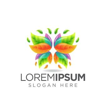Logotipo da folha da borboleta