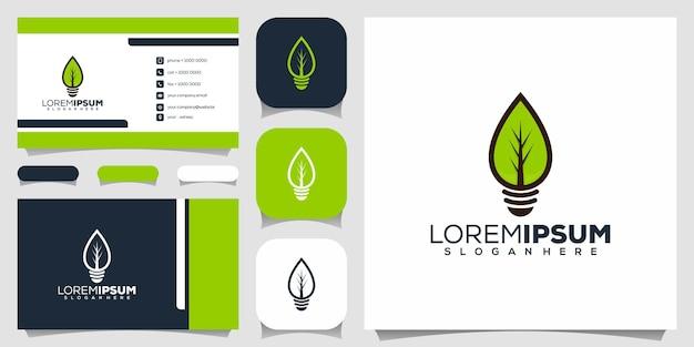 Logotipo da folha da natureza da lâmpada bulbo Vetor Premium