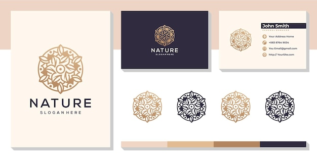 Logotipo da folha da natureza das flores com modelo de cartão de visita