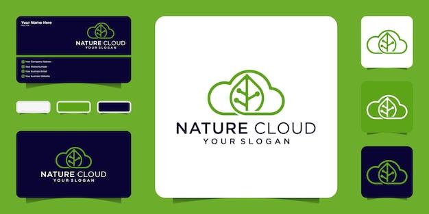 Logotipo da folha da nuvem e cartão de visita