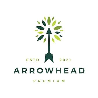 Logotipo da folha de árvore de mão de flecha