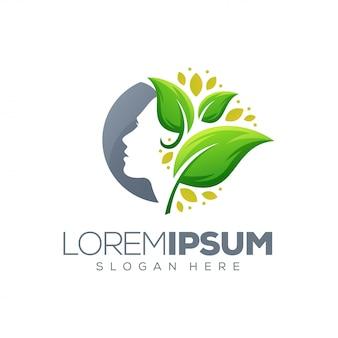 Logotipo da folha de beleza