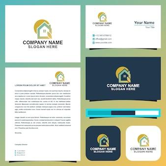 Logotipo da folha de casa e cartão de visita