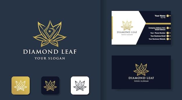 Logotipo da folha de diamante com estilo de linha e cartão de visita
