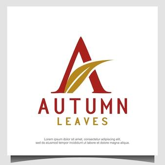 Logotipo da folha de outono com a letra inicial a