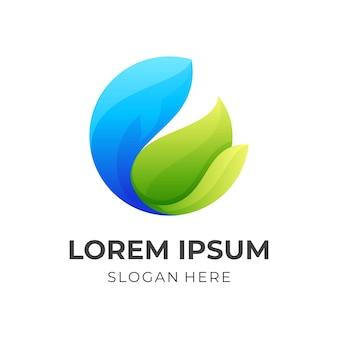 Logotipo da folha de peixe, peixe e folha, logotipo de combinação com estilo de cor azul e verde 3d