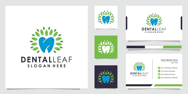 Logotipo da folha dental criativa e design de cartão de visita