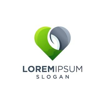Logotipo da folha do amor