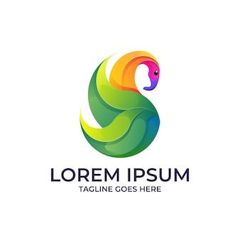 Logotipo da folha do cisne