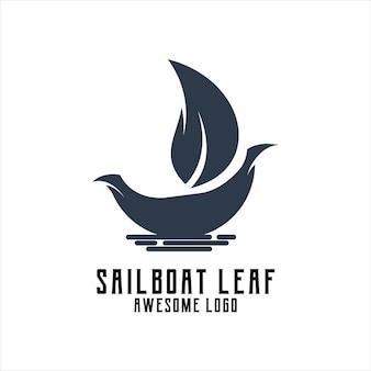 Logotipo da folha do veleiro silhueta retrô vintage