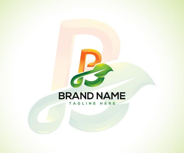 Logotipo da folha e conceito do logotipo da letra inicial b
