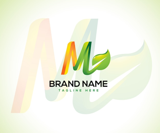 Logotipo da folha e conceito do logotipo da letra inicial m