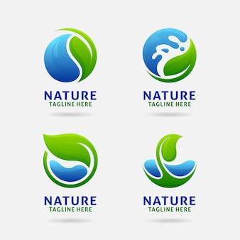Logotipo da folha e da água da natureza