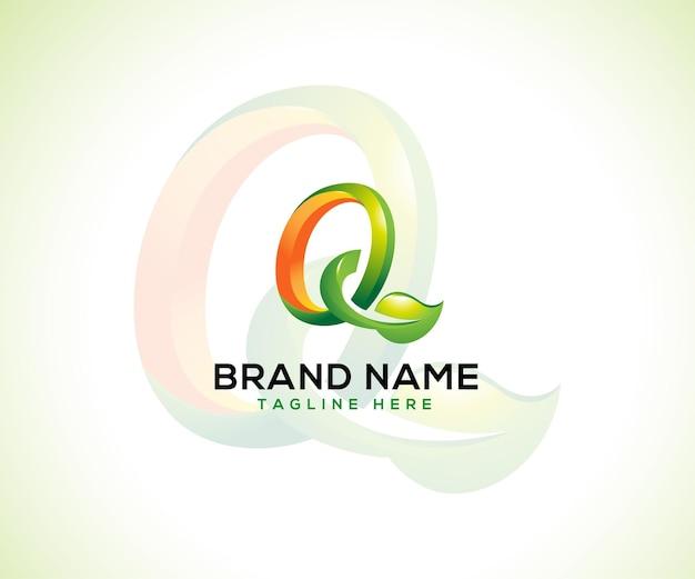 Logotipo da folha e letra inicial q conceito do logotipo 3d