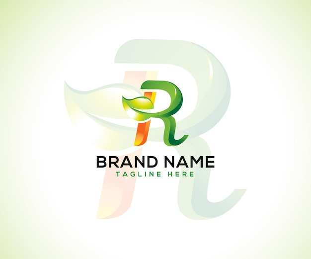 Logotipo da folha e letra inicial r conceito de logotipo 3d