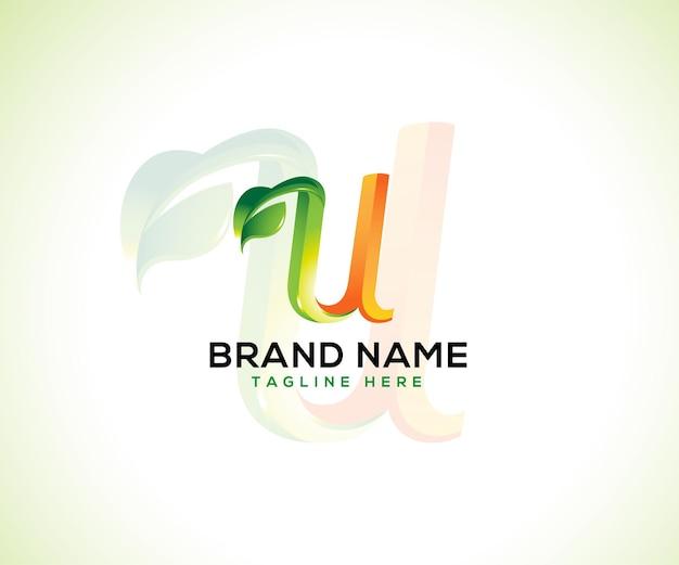 Logotipo da folha e letra inicial u conceito de logotipo 3d