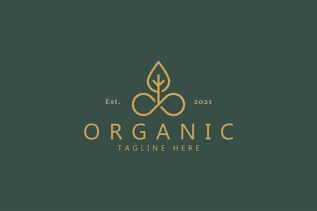 Logotipo da folha orgânica. símbolo elegante da cor do ouro. identidade da marca nature plant company. conceito de combinação ilimitado.