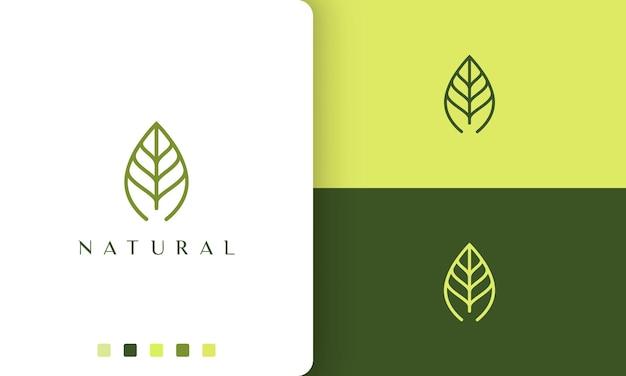Logotipo da folha verde com estilo simples e moderno