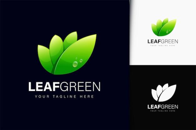 Logotipo da folha verde com gradiente