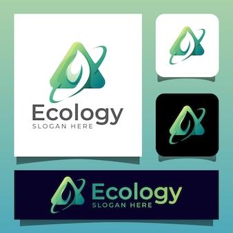 Logotipo da folha verde eco com estilo de espaço negativo. símbolo do ícone de primavera natural
