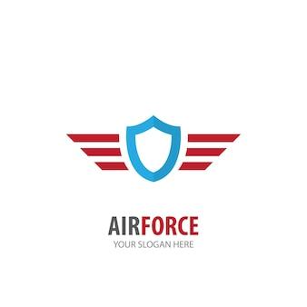 Logotipo da força aérea para empresa de negócios. projeto de ideia de logotipo simples da força aérea. conceito de identidade corporativa. ícone criativo da força aérea da coleção de acessórios.