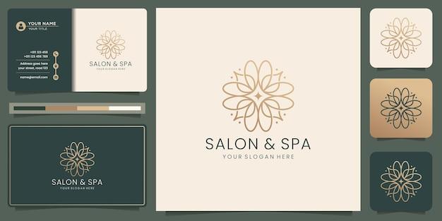 Logotipo da forma do monograma da arte da linha do salão de beleza feminino e spa. modelo dourado, ícone e cartão de visita.