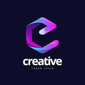 Logotipo da forma moderna letra e cubo