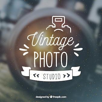 Logotipo da fotografia vintage com fundo da foto