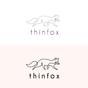 Logotipo da fox em linha fina monoline