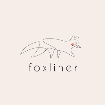 Logotipo da fox monoline arte em linha