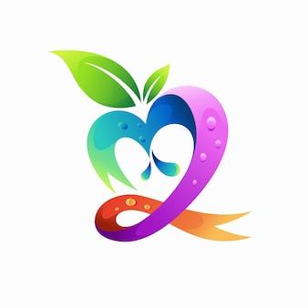 Logotipo da fruta com conceito de fita