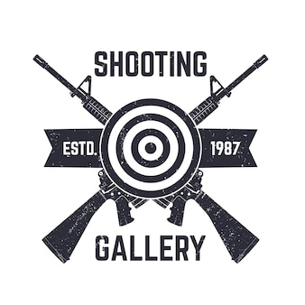 Logotipo da galeria de tiro, sinal com rifles de assalto cruzados, ilustração
