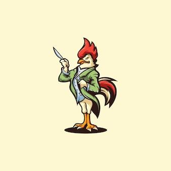 Logotipo da galinha no amarelo,