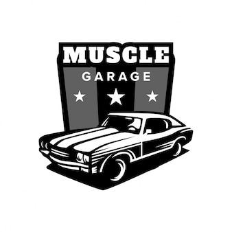 Logotipo da garagem do carro muscular