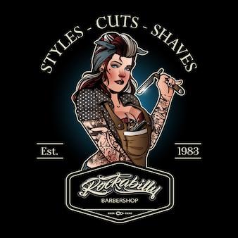 Logotipo da garota barbeiro vintage