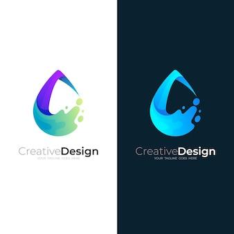 Logotipo da gota d'água com ilustração de design swoosh, ícones da natureza