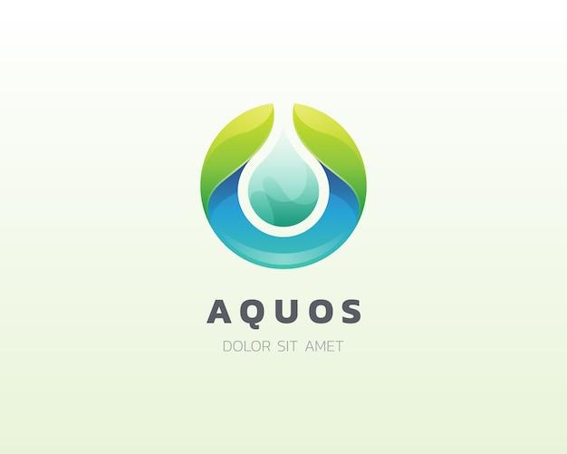 Logotipo da gota d'água. ícone do logotipo de água doce aqua