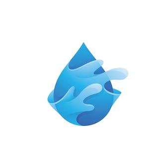 Logotipo da gota de água e respingo de líquido