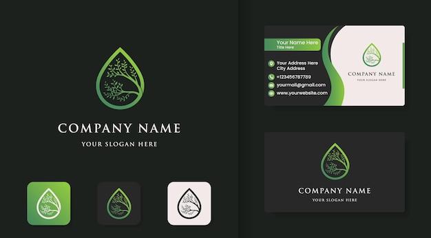 Logotipo da gota de árvore e design de cartão de visita