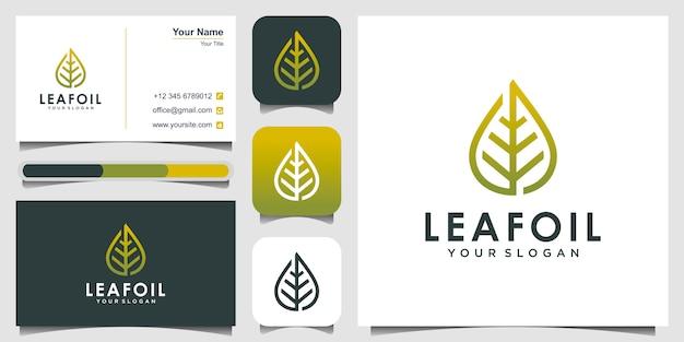 Logotipo da gota de óleo de folha, conceito de beleza e cartão de visita