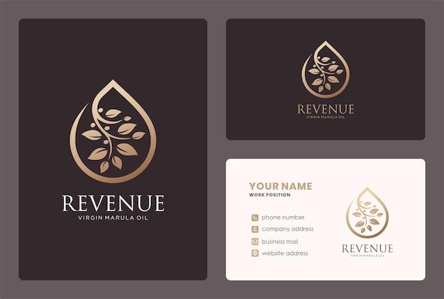 Logotipo da gota de óleo de marula e design de cartão de visita.