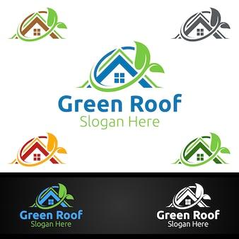 Logotipo da green roofing para property roof real estate ou handyman architecture design