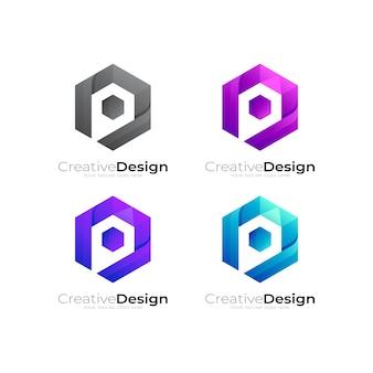 Logotipo da hexágono com ilustração do desenho da seta