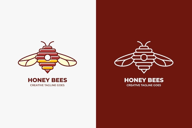 Logotipo da honey bee farm monoline