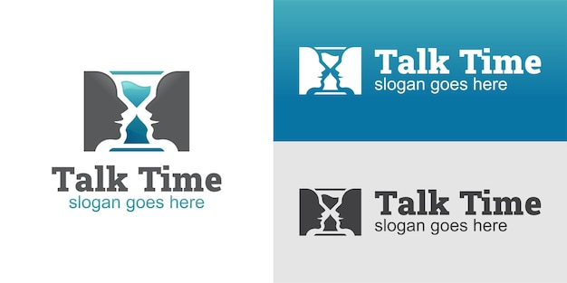 Logotipo da ideia criativa de rosto falando com versões antigas do tempo limite do cronômetro, cronômetro para comunicar o design do logotipo