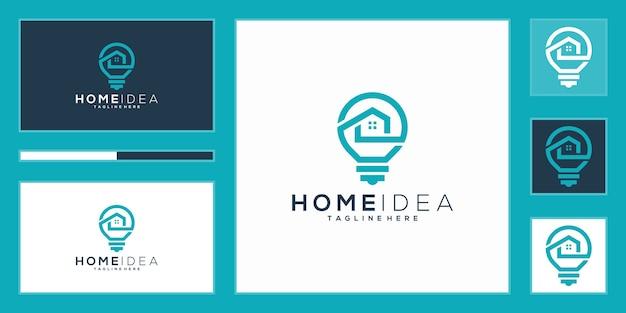 Logotipo da ideia de casa de luxo. lâmpada e casa com estilo de arte de linha